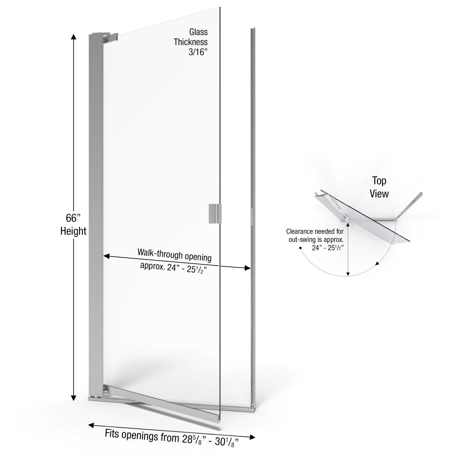 Basco Classic 28.625 to 30.125 in. width, Semi-Frameless Pivot Shower Door, Clear Glass, Silver Finish by Basco Shower Door (Image #3)