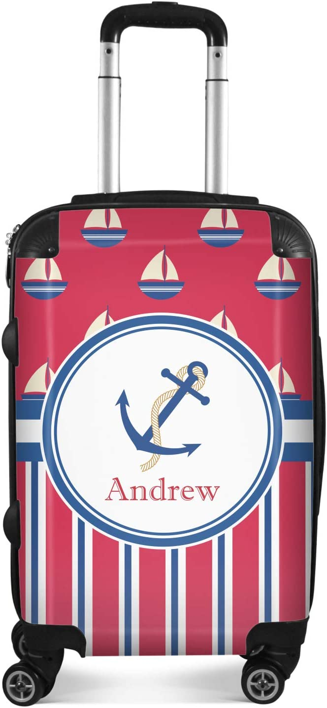 24Medium Checked Personalized Sail Boats /& Stripes Suitcase