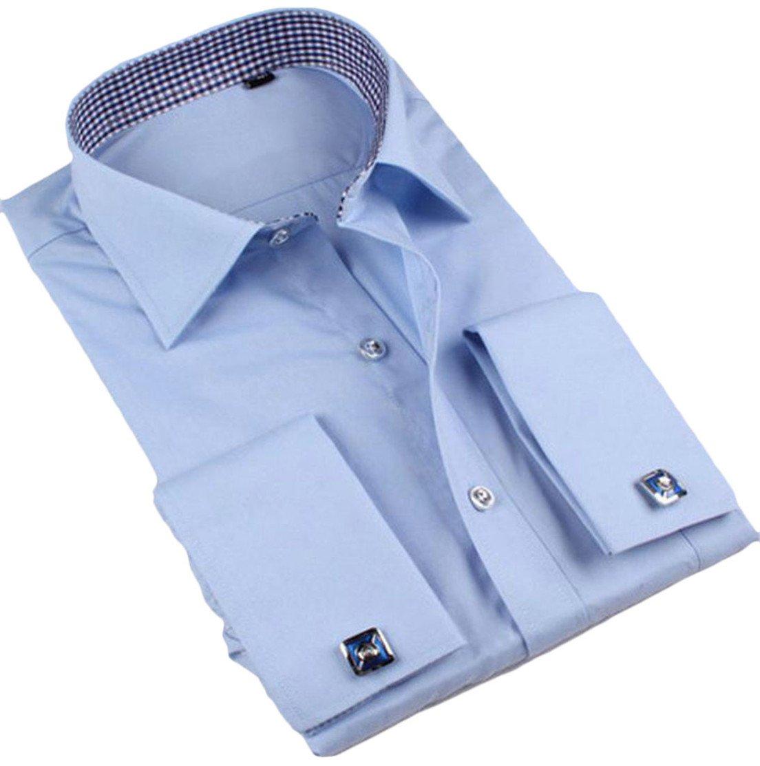 Etecredpow Men Long Sleeve Lapel Neck Cufflinks Pocket Slim Button Down Shirts Blue XXL by Etecredpow (Image #1)