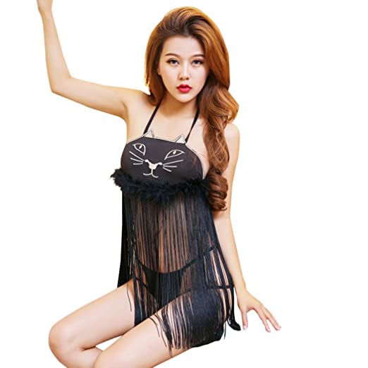 df1be7f3761 TAORE Womens underwear Women s Nightwear Sexy Cute Anime Cat Embroidary  Lingerie Set Babydoll Strap Chemise