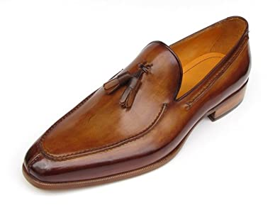 f11e5b8c870cc Paul Parkman Men's Tassel Loafer Camel & Brown Hand-Painted Shoes (Id#083