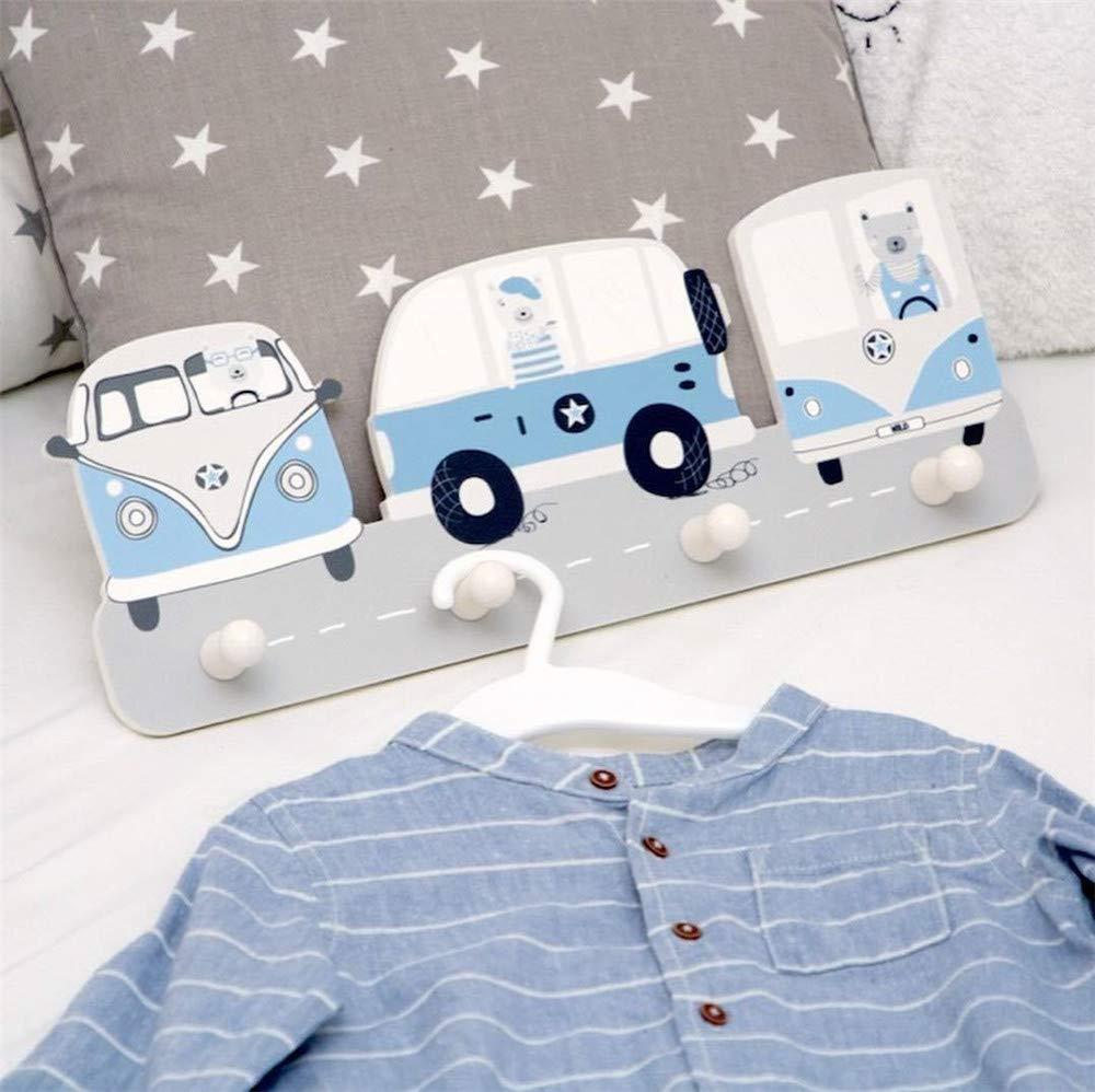 Blaues Auto Kindergarderobe mit 4 Haken,Wandgarderobe Kleiderhaken Wandhaken Kinderm/öbel Garderobenhaken mit Waldtiere und Auto