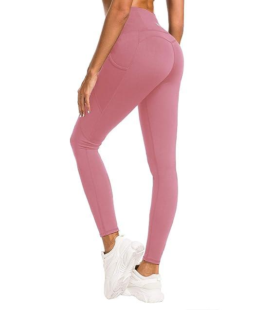QUEENIEKE Women Yoga Leggings Power Flex Mesh Pocket Mid-Waist Gym Running Tights 60127