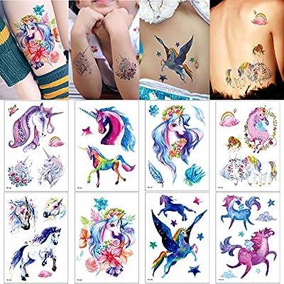Pegatina de tatuaje temporal, diseño de unicornio, 8 hojas: Amazon ...