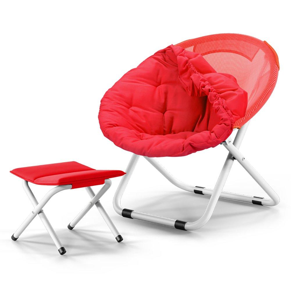 折り畳み式サンラウンジャー折り畳み式デッキチェアリクライニングガーデンチェアリムーバブルクッション+折り畳み式スツール (色 : 赤) B07DMRN422 赤 赤