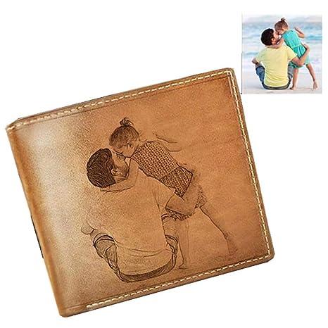 Cartera clásica para Hombre Foto privada Cartera Personalizada Cumpleaños Navidad Mejor Regalo(Solo Lado marrón