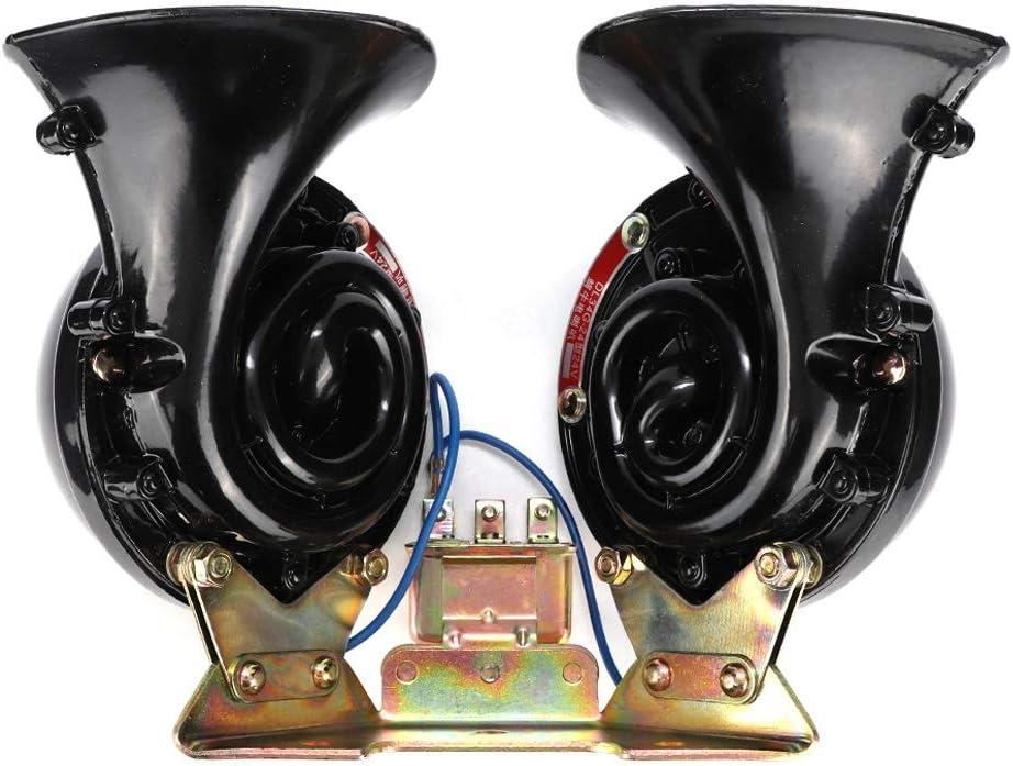 accessoire de style de voiture 24V klaxon de voiture universel noir corne descargot /électrique pour bateau de camion de voiture EBTOOLS Corne de voiture