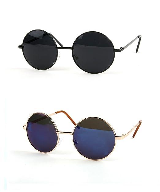 1161f6fc6 John Lennon 60's Vintage Round Hippie Sunglasses (2 pcs Black-Smoke & Gold-