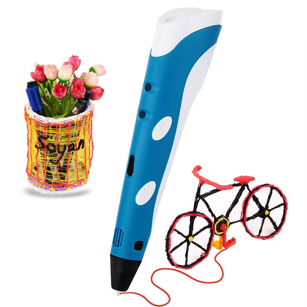 Soyan 3D Printing Pen for Doodling, Prototyping Design and Art Making, Easy to Use, 3D Pen for Beginners (Blue)