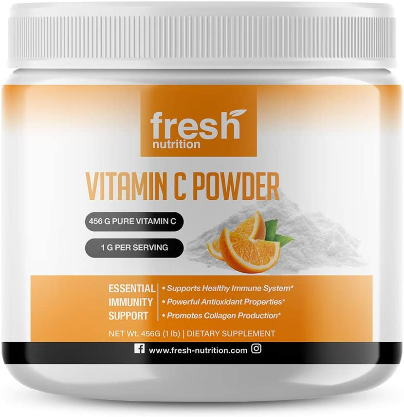 Vitamin C Powder 1lb – Pure Powerful 456 Servings of Immune Support – 2000mg/1000mg/500mg Per Serving Will Last a Long Time! Tasty Vitamin C Supplement Potent Support – DNA Verified - Vegan Friendly