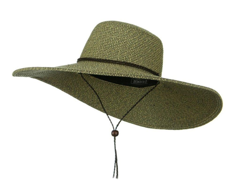 Womens Floppy Wide Brim Packable Sun Hat Two Tone Black w/Chin Strap ...