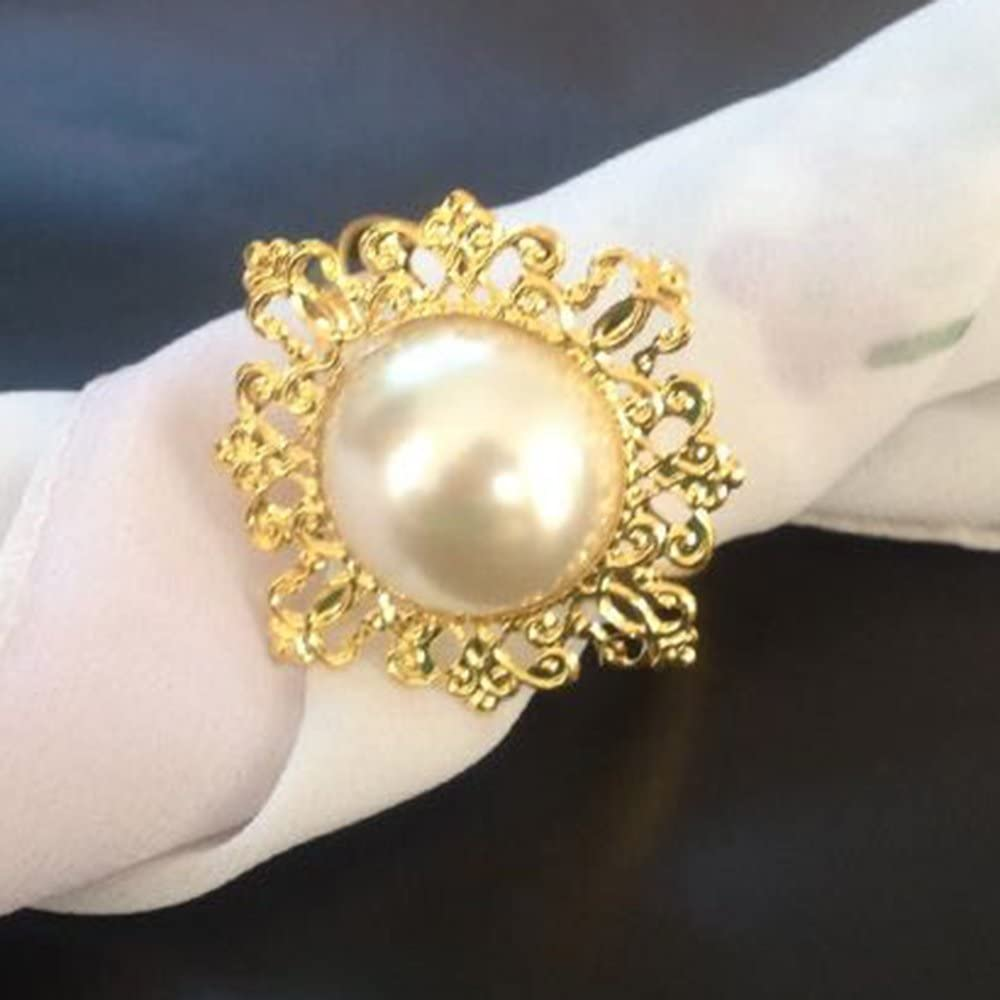 ZideTang Rhinestone Metal Napkin Ring Color Amber Pack of 12