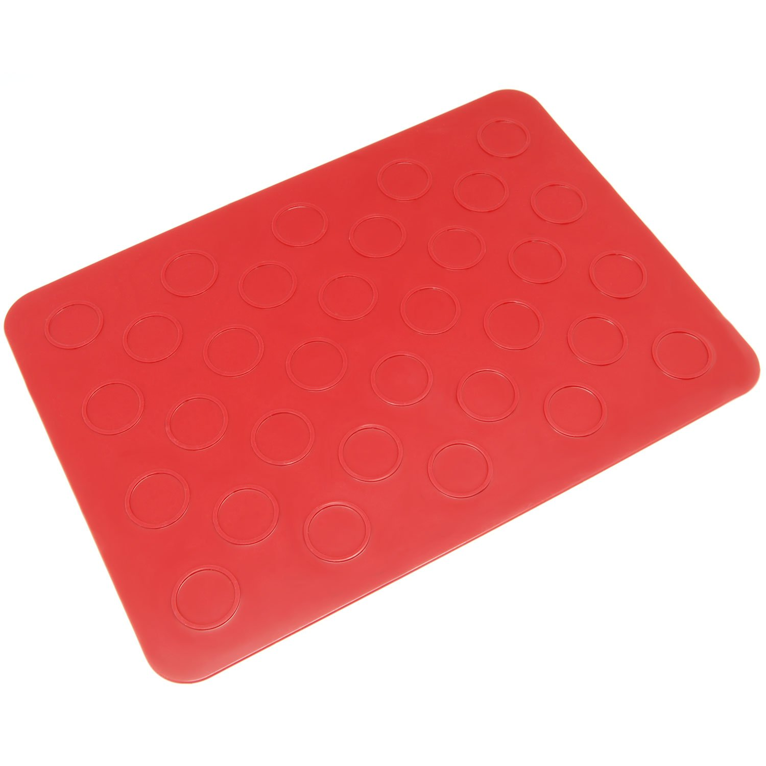 Freshware CB-402RD 10-Circle Macaron, Whoopie Pie, Cookie and Creme Puff Silicone Mat, Red, Small Inc