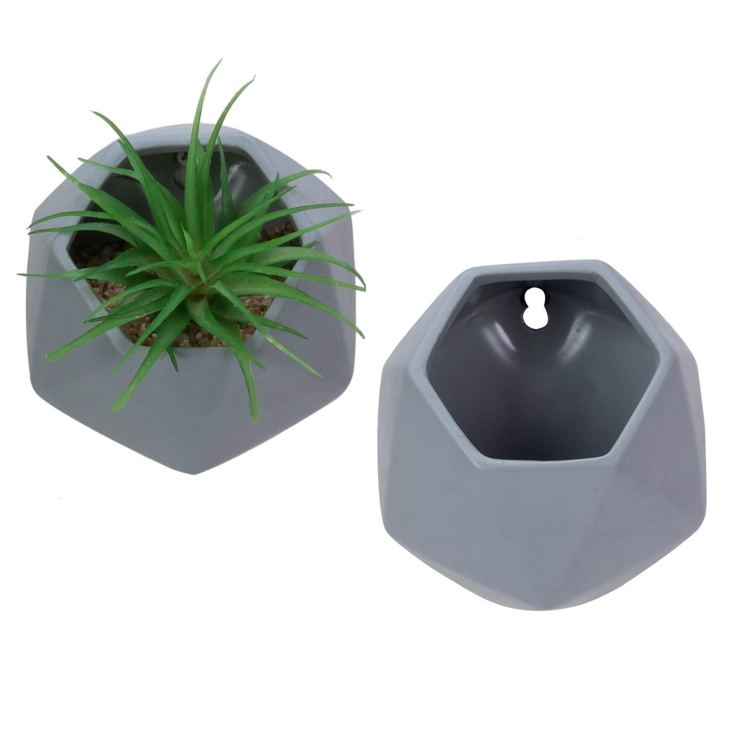 Nattol Wall Hanging Planters, 5'' Hanging Planter in Hexagonal Shape for Wall Décor, Set of 2