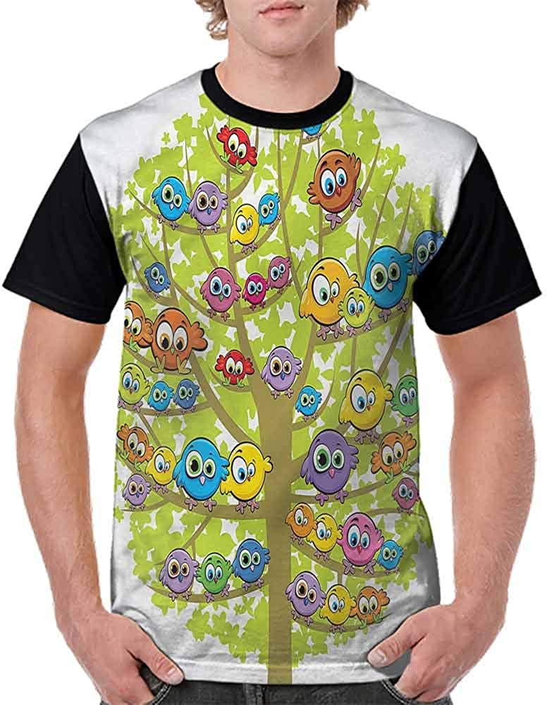 Casual Short Sleeve Graphic Tee Shirts,Canary Bird Fun Family Fashion Personality Customization