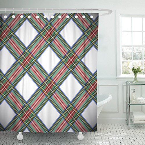 Breezat Shower Curtain Green Tartan Modern Dress Stewart Scottish Plaid Blue British Waterproof Polyester Fabric 72 x 72 Inches Set with Hooks
