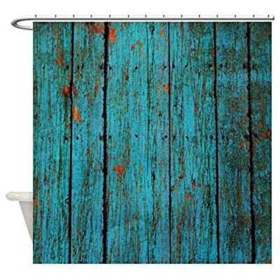CafePress - Teal Nailed Wood Fence Texture - Decorative Fabric Shower Curtain