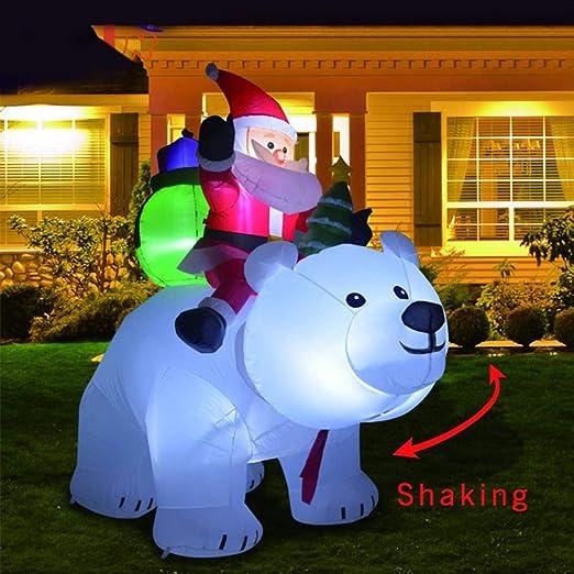 HELEVIA - Figura de Papá Noel Hinchable con Osito y luz LED para ...