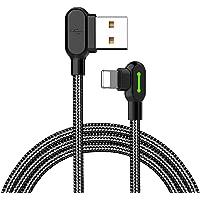 Mcdodo Rechthoekige USB-kabel met LED-licht 90 graden oplaadkabel nylon gevlochten omkeerbaar USB snelle…