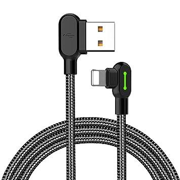 Mcdodo Cable USB Lightning y adaptador con sincronización de datos para Apple iPhone 4 x 8 3/6 Plus, iPad e iPod (LED en forma de L, ángulo recto de ...