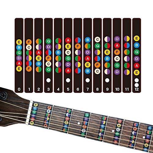 HOT SEAL Guitar Finger Guide Sticker Fingerboard Guide Fretboard Marker Label Finger Chart for Practice Beginners ()