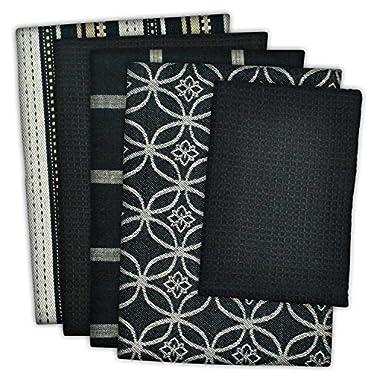 DII 100% Cotton, Ultra Absorbent, Oversized, Washing, Drying, Basic Everyday Kitchen Dishtowel 18 x 28  & Dishcloth 13 x 13 , Set of 5 - Black