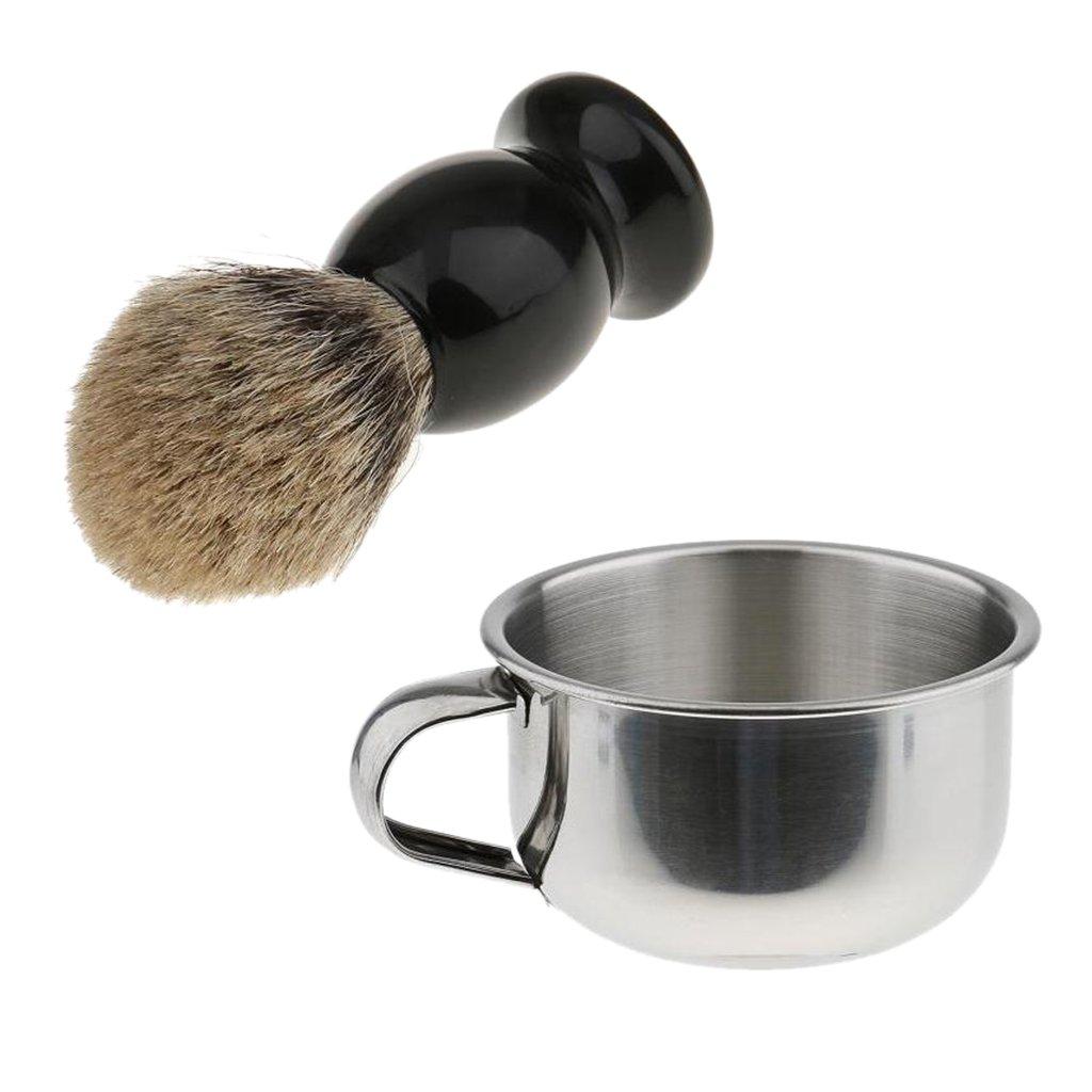 MagiDeal Pro Peluquero Salón Brocha Afeitado Jabón Crema +Taza Tazón de Barbero de Acero Inoxidable Accesorios de Afeitar de Hombres
