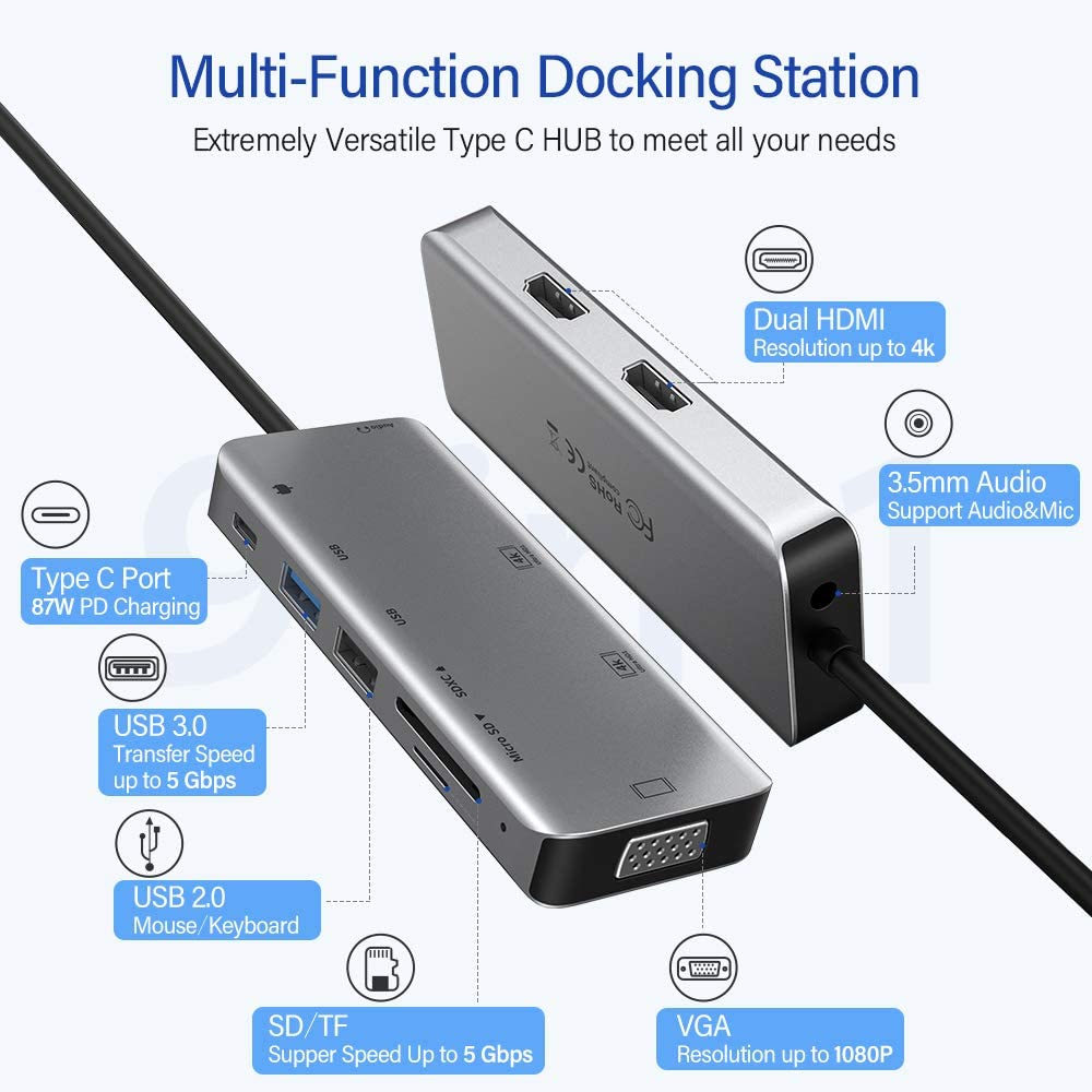 USB C Hub 2 HDMI Laptop Docking Station,RAYROW 9-in-1 USB C Hub to Dual 4K HDMI VGA,Windows Laptops Support Triple Display,AUX 3.5mm,USB C to USB,MicroSD Card Reader,Compatible with MacBook Pro//Air