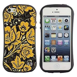 "Hypernova Slim Fit Dual Barniz Protector Caso Case Funda Para Apple iPhone SE / iPhone 5 / iPhone 5S [Mostaza Negro Vintage Wallpaper""]"