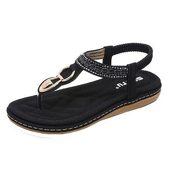 FEITONG Damen Sandalen Zehentrenner Bohemian Strass Flach Sandaletten Sommer Strand Schuhe Freizeitschuhe IvSJJpTj