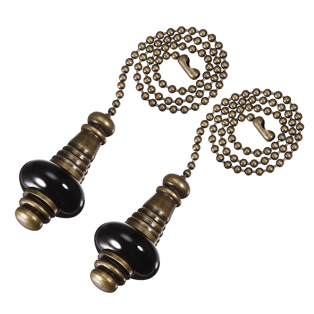 uxcell Ceramic Black Pendant 12 inch Antique Brass Finish Pull Chain for Lighting Fans Pack of 2