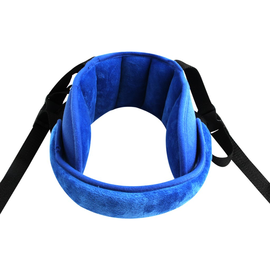 KAKIBLIN Adjustable Toddler Car Seat Head Support Band, Carseat Straps Cover, Safety Car Seat Neck Relief, Blue by KAKIBLIN