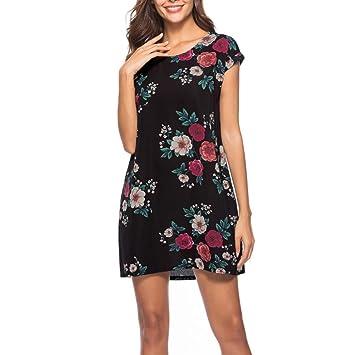 TAOtTAO Vestido floral para mujer, estilo vintage, estilo casual, para fiesta, playa