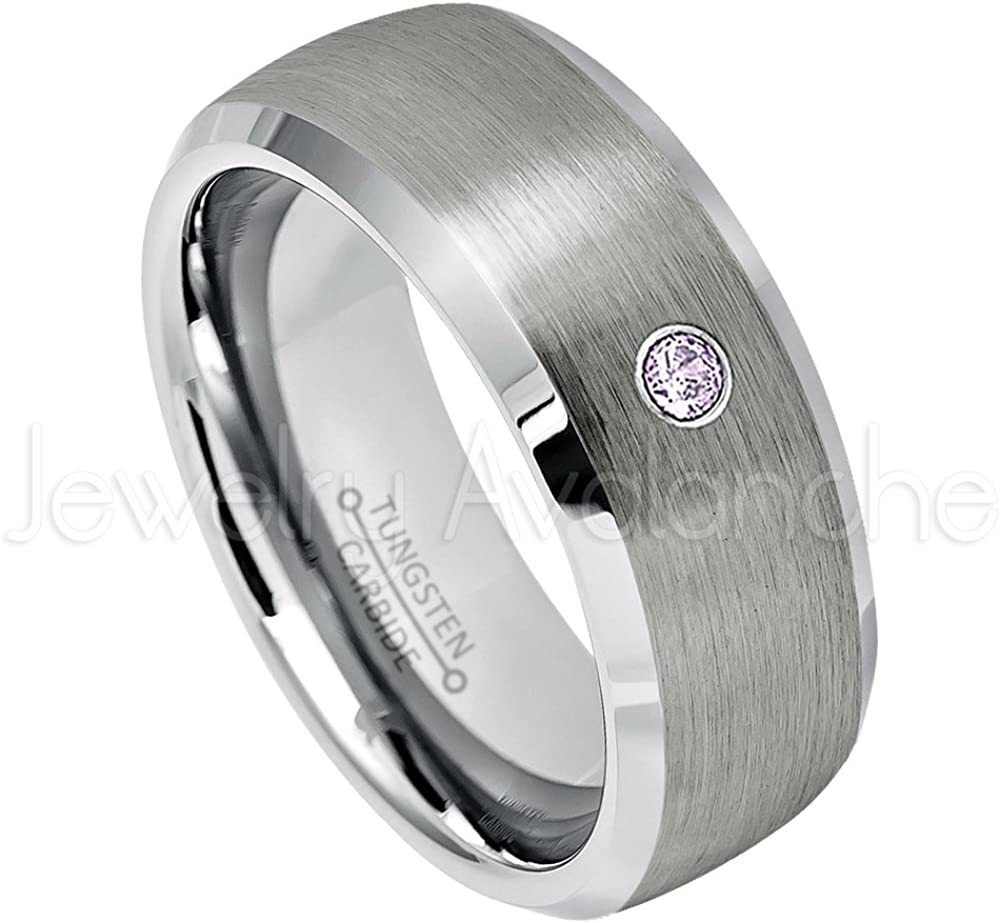 8MM Brushed Comfort Fit Semi-Dome Beveled Edge Tungsten Carbide Wedding Band Jewelry Avalanche 0.07ct Amethyst Tungsten Ring February Birthstone Ring