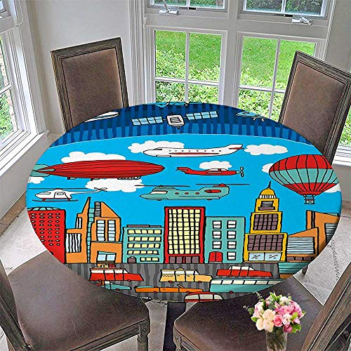 Mikihome Round Tablecloth Busy City Metropolis with Hot Air Balloon Zeppelin Plane UFO Urban Town Graphic for Kitchen 55