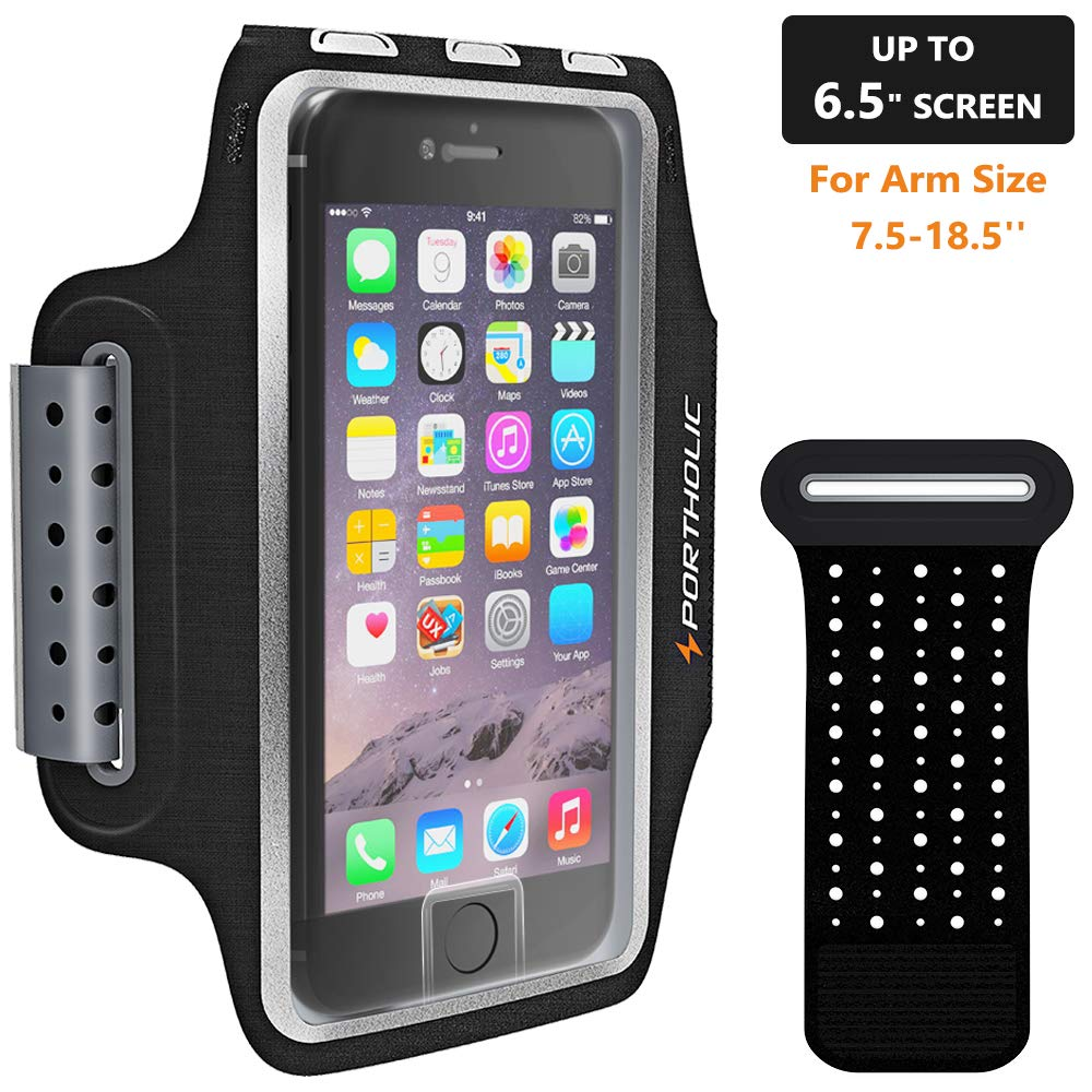 PORTHOLIC Sweat Resistant Armband Fits iPhone Xs Max XR X 8 7 6 6s Plus Phone Running Holder Sports Workout Case for Samsung GalaxyS10 S9+ S8 S7Edge Note 9 10 Huawei p20 LG [Stretchy] 7-18 Inch Arm by PORTHOLIC