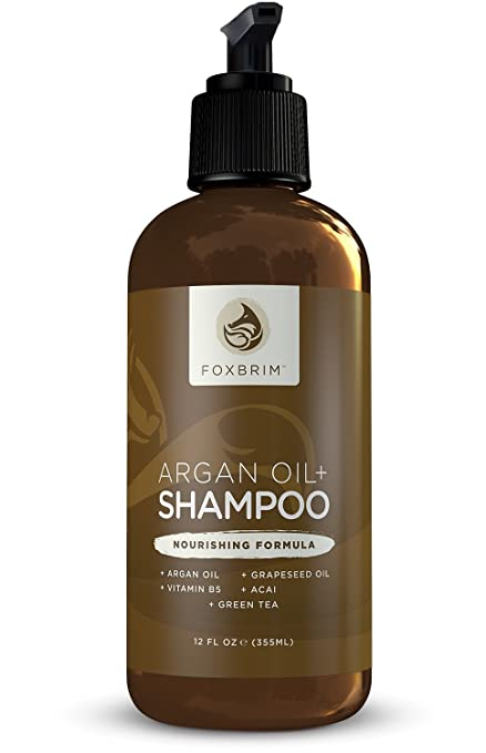 Argan Oil+ Shampoo - Repair Dry & Damaged Hair - Get Shiny Healthy Hair - Vegan Formula With Aloe Vera, Green Tea, Vitamin B5 & Nutrient Rich Oils - Natural & Organic - Sulfate Free - Foxbrim 12OZ