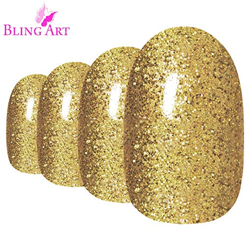 (Bling Art Oval False Nails Fake Acrylic Gel Gold Full Cover 24 Medium Tips Glue)