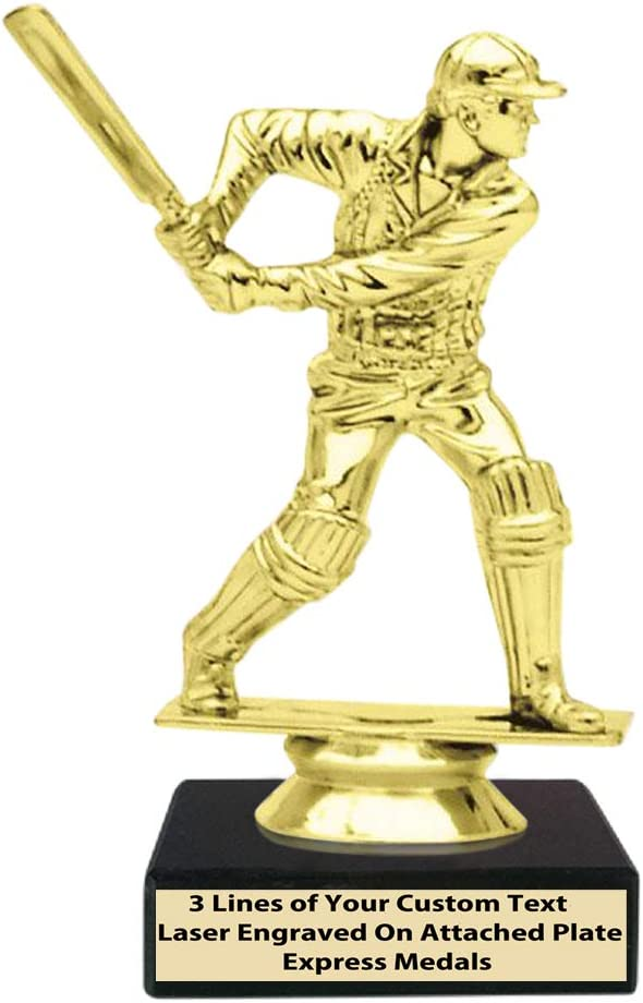 Express Medals (1-50 Packs) of 1st 2nd 3rd Place Winner Champion Male Cricket Trophies, Genuine Black Marble Base with Engraved Personalized Plates 104