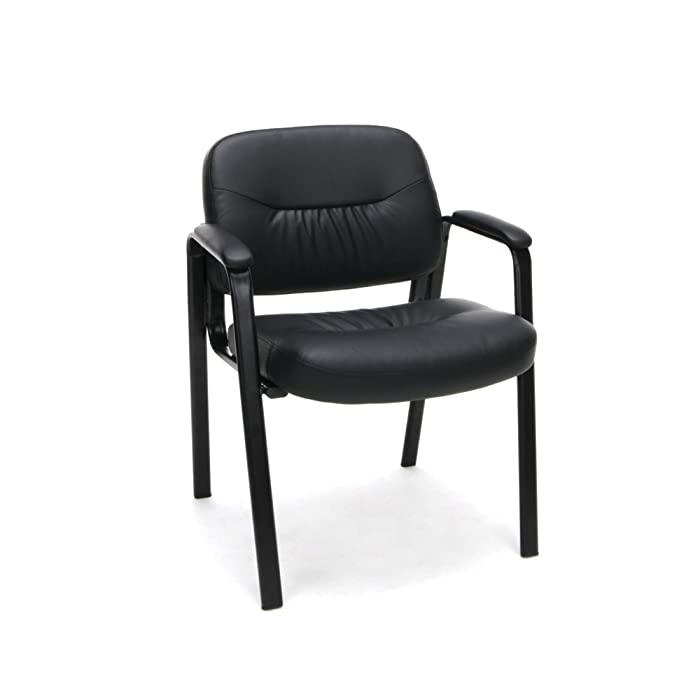 Essentials Leather Executive Side Chair - Guest/Reception Chair, Black (ESS-9010)
