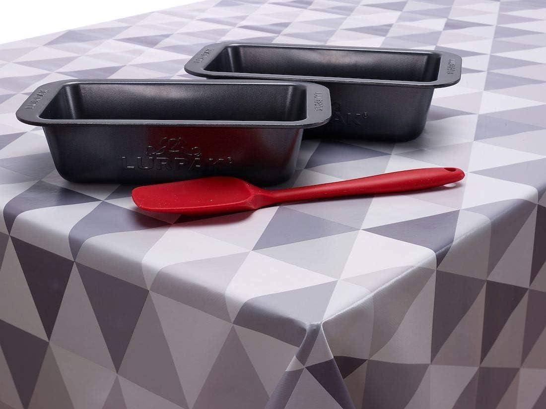 Jolee Fabrics - Mantel de vinilo o hule de PVC, diferentes diseños y tamaños en tonalidades grises, algodón, Vinilo de PVC triángulos multicolor gris, 140cm (55