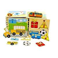 Carsge Puzzle en Bois Encastrables avec Boutons, Mon Petit Jouet pour Bébé Coloré Éducatif Créatif, Couleurs Aléatoires (Couleurs Aléatoires)