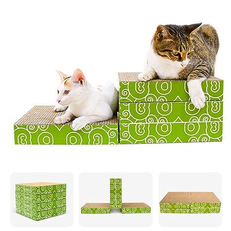 4 en 1 (escala griffoir gato gatito original sólido cartón ondulado a rascar ecológica,