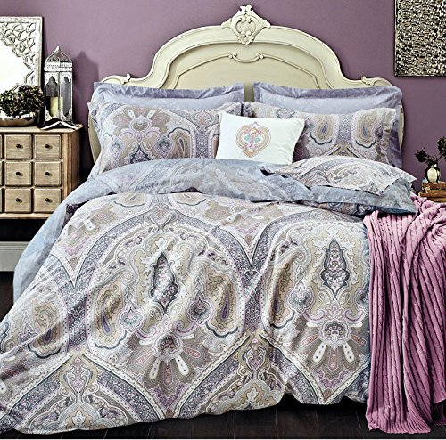 Lavender Lilac Bohemian Paisley Duvet Quilt Cover Light Blue Purple Boho Chic 100% Cotton Bedding Set