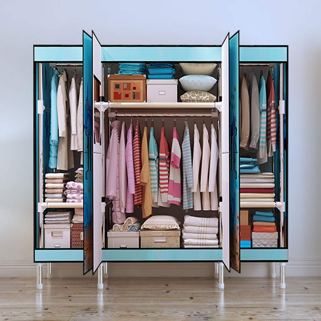 Wardrobe Moving Boxes Color : A No Zipper Wardrobe Cloth Closet Folding Door Steel Pipe Bold Reinforcement Fabric Assembly Cabinet Storage Wardrobe
