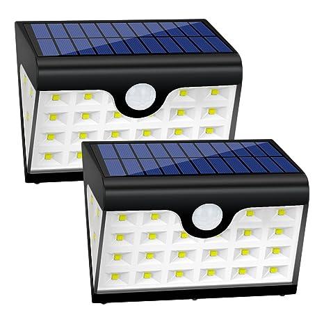 Foco Solar Exterior Luz de Solar LED con 28 LED, 300 Lúmenes, Funciona de