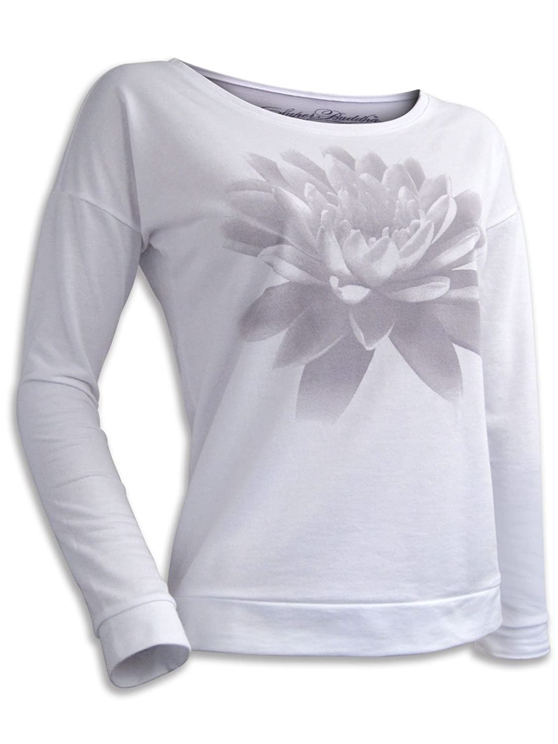 "Super Buddha Women's ""Lotus Flower - Om Shanti"" Long Sleeve French Terry Scoopneck"