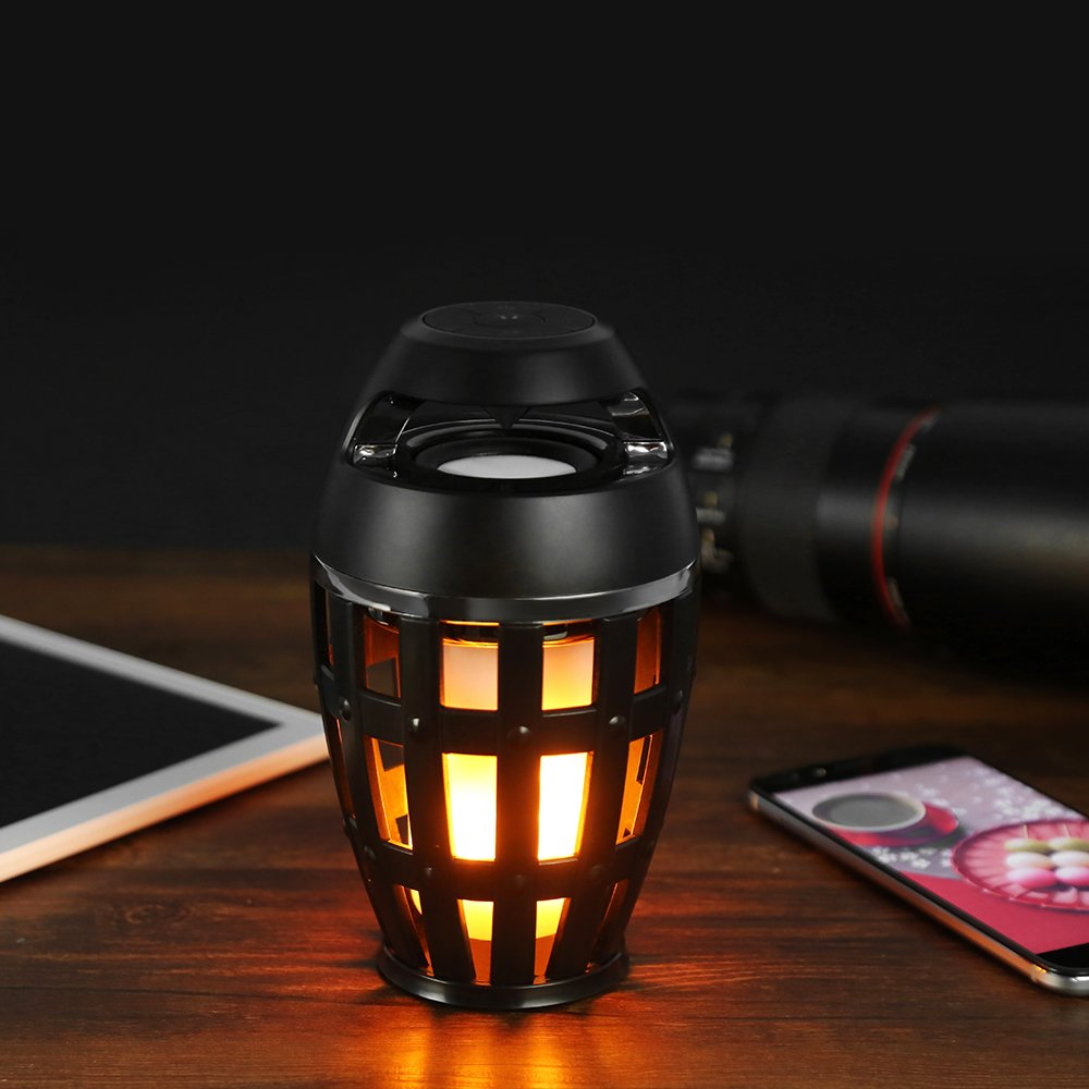 Led flame speaker,Dancing Flicker Flame Camping Lamp Wireless Speaker,Mayzo Outdoor/Indoor Portable Bluetooth Speaker,Torch atmosphere Light with HD Audio and Enhanced Bass,Romantic&Wonderful Gift