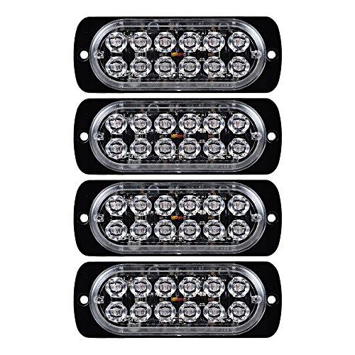 Price comparison product image 4X 36W 12-LED Amber Emergency Strobe Light Head IP65 Surface Mount Deck Dash Grille 12V-24V