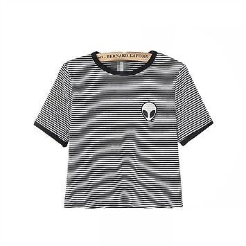 Crop Top Blusa, Tukistore Mujer Camiseta de Manga Corta Divertido Lindo Alien Crop Top Camiseta